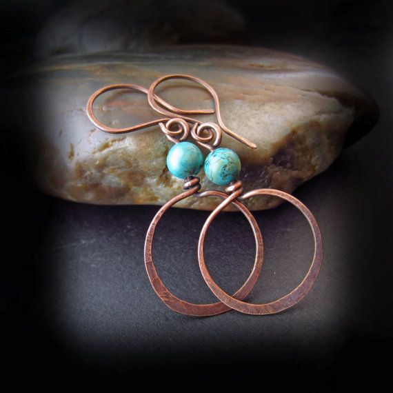 Rustic Turquoise and Copper Hoop Earrings - Wire Wrapped Jewelry Handmade - Hammered Copper Hoops - Antiqued Copper - TURQUOISE DREAM on Etsy, $26.00