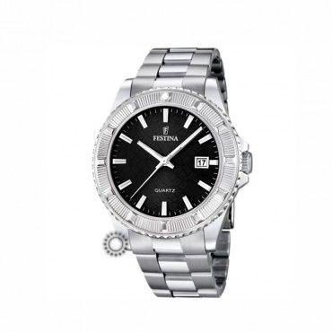 FESTINA black date bracelet F16684/5 Γυναικείο sport quartz ρολόι FESTINA με ημερομηνία, μαύρο καντράν και μπρασελέ ανοξείδωτο ατσάλι #Festina #μαυρο #ημερομηνια #μπρασελε #ρολοι