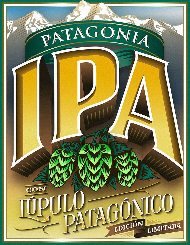 PATAGONIA IPADiseño de etiqueta para la Edición Especial –no comercial– de Cerveza Patagonia India Pale Ale –IPA–.—Label design for the –non commercial– Special Edition of Patagonia's India Pale Ale –IPA– beer.