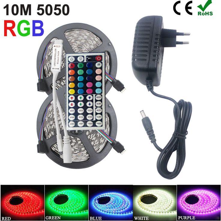 4 M 8 M RGB LLEVÓ la Tira los 5 M SMD 5050 LOS 30LED/M Flexible Lámpara led luces de navidad 150 LED 44key Controlador Remoto 12 V adaptador