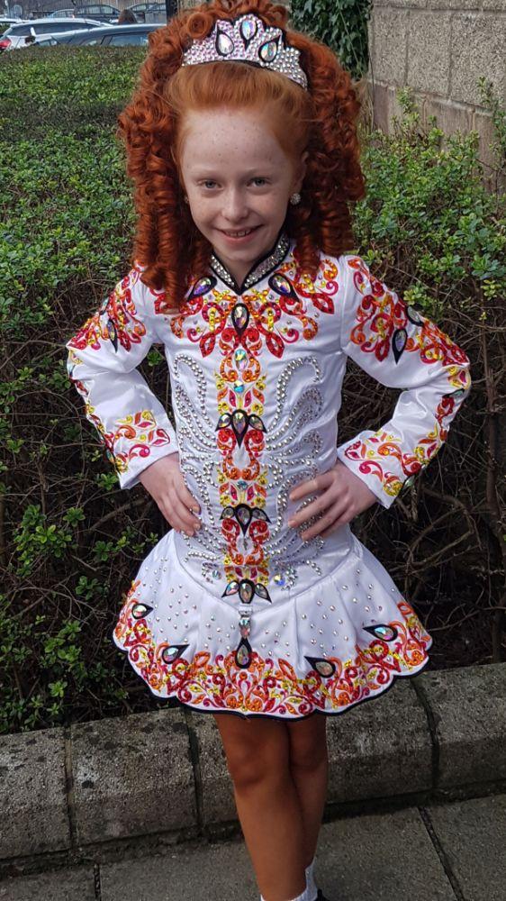 Beautiful White Devlin Designs Irish Dance Dress Solo Costume For Sale