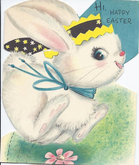 4 Vintage Easter Greeting Cards 1960s