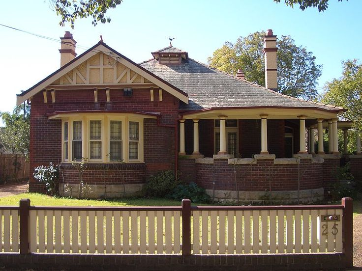 Federation home (bungalow) with bay window, verandah, situated on Appian Way, Burwood, Sydney, Australia .v@e.