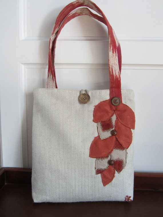 Orange cream and tan tote bag Handmade by BerkshireCollections, $42.00