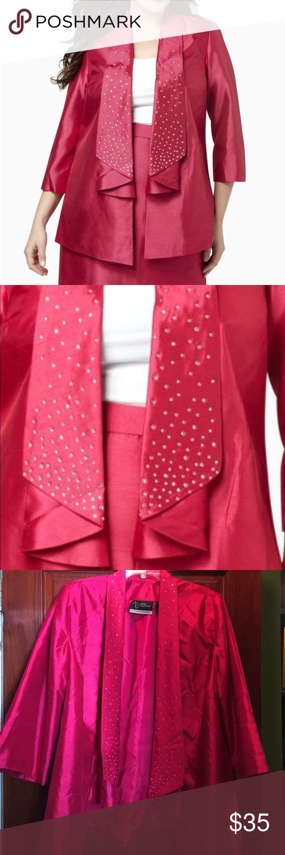 """NEW Catherines Plus Size Silky Shantung Jacket Brand new Catherines Polished Shantung Jacket. Plus Size 0X (14/16W). Sparkling Rhinestones at the folded collar, open-front leads to asymmetrical hem that falls to a point. Color is labeled as Bright Rose, I would describe it as fuschia. Bust 46"""", Sleeves 21"""", Length 30"""". Smoke free home Catherines Jackets & Coats Blazers"""