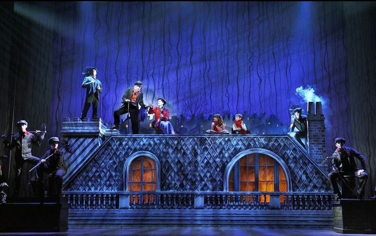 "Lovely roof set.  ""Mary Poppins: The Musical,"" presented by #Broadway in Tucson #MaryPoppins #Theatre"
