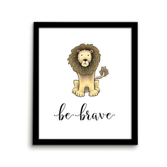 Lion Print Animal Nursery Art Print Be by ThirteenFiveCreative