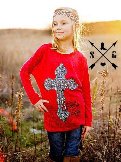 Kids God is Love Leopard Red Tunic by KrystylsTrendyFinds on Etsy