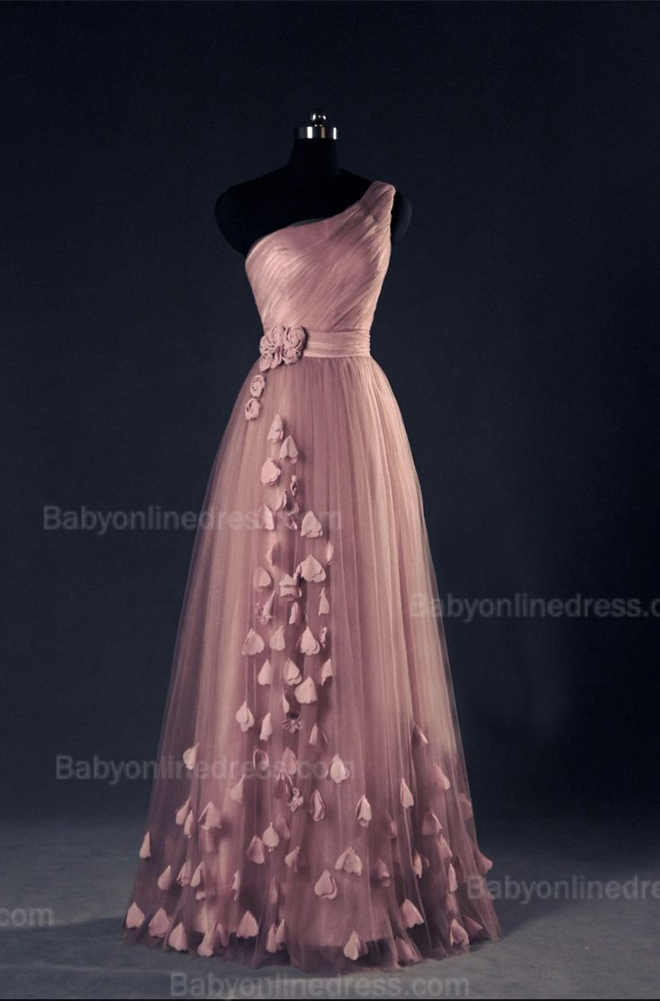 One Shoulder Tulle Appliques Prom Gowns 2015 Ruffles Lace-Up Evening Dresses,long prom dress, prom dress on wwww.babyonlinedress.com