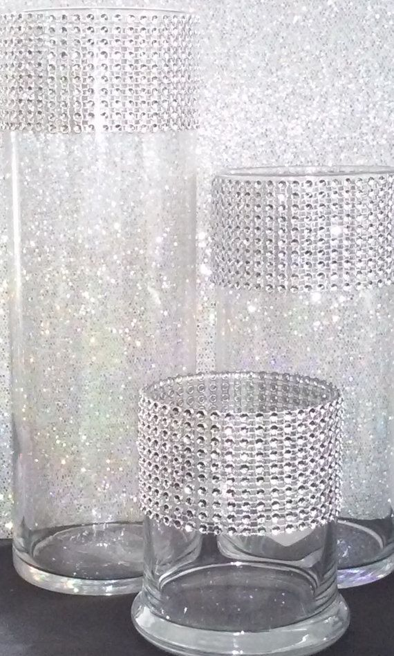 Glass Cylinder Vase Set With Faux Rhinestone By Isaiahpaulevents
