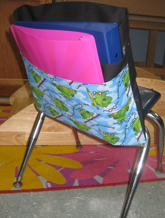 WWW.CHAIRPOCKETFACTORY.COM  Chair pockets are the perfect solution for classroom teachers who need more space! Easily Affixed onto the back of students' chairs, chair pockets neatly hold everything needed in the classroom, including books, binders, folders, notebooks, library books, pencil boxes and more! Our chair pockets are also made to last – built from strong and durable fabric and reinforced with upholstery thread. Available in a variety of colors and three size options, chair pockets…