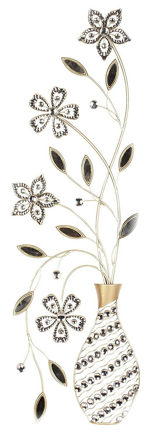Metal Wall Decor Floral Vaze By Home Source