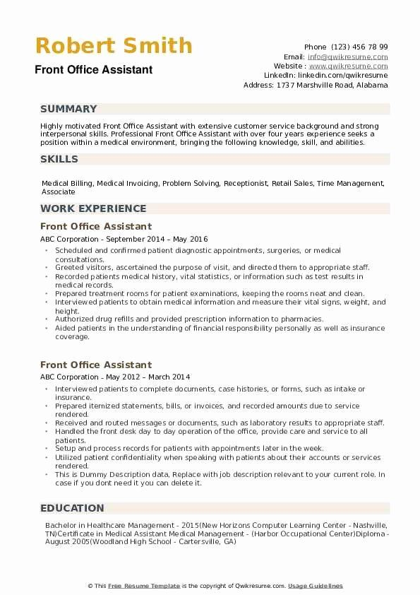 23 Front Desk Job Description Resume In 2020 Resume Medical