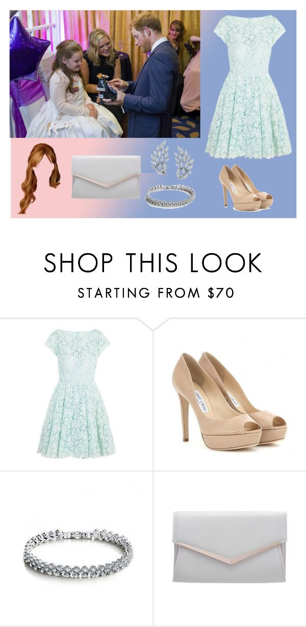 """""""Evento de caridad con Harry"""" by danielama ❤ liked on Polyvore featuring GALA, ML Monique Lhuillier and Jimmy Choo"""