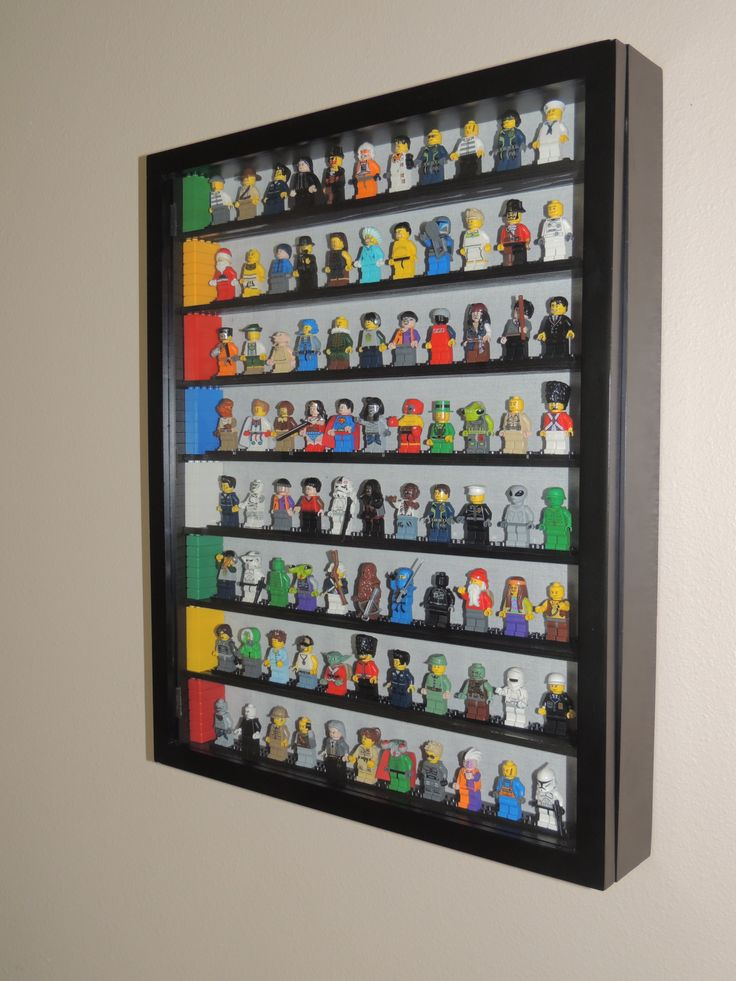 Lego Minifigure Storage Shadow Box with painted shelves held in place by Legos! Shadow box opens in front.