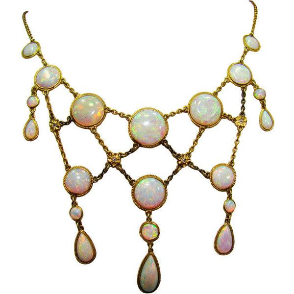 Victorian Opal and Diamond Necklace in 14K Yellow Gold - Fourtane ❤ liked on Polyvore featuring jewelry, necklaces, accessories, opal, bijoux, victorian necklace, 14k necklace, 14 karat gold necklace, diamond necklaces and gold diamond jewelry