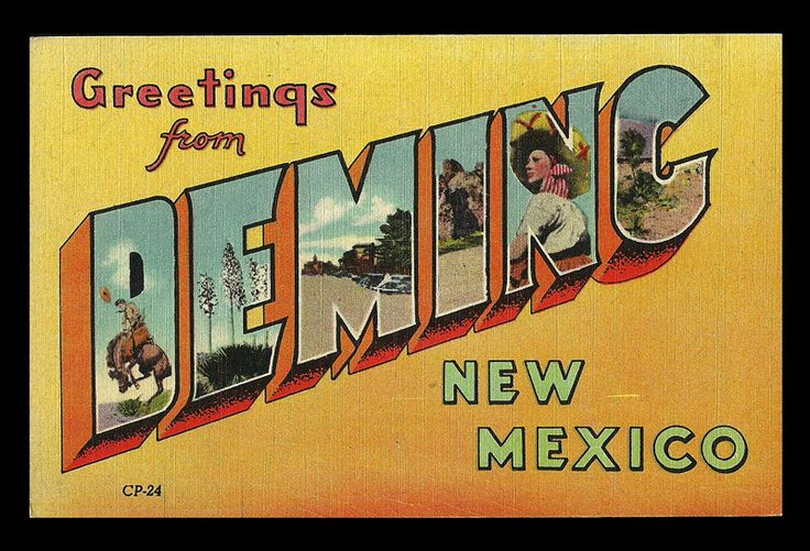"""paperinkgraphics id: nm 4 Deming Greetings Postcard New Mexico Scenic Large Letter NM PC Postally Unused. Divided back. Linen. Standard size postcard measures approximately 3.5"""" x 5.5"""". Good to Very G"""