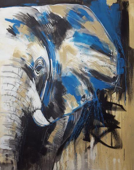 Elephant #6 by Stefanie Rogge - Close up - Large Painting #artforsale #art #buyart #original animalart #love #safari #artfinder