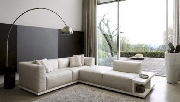 Living Room L Shape White Leather Sofas For Small Living Room Curved Arched Steel Floor Lamp Living Room Agreeable Living Room Decoration Furry Light Gray Rug Attractive Easy Living Rooms Decoration That Make Romantic  Ambience