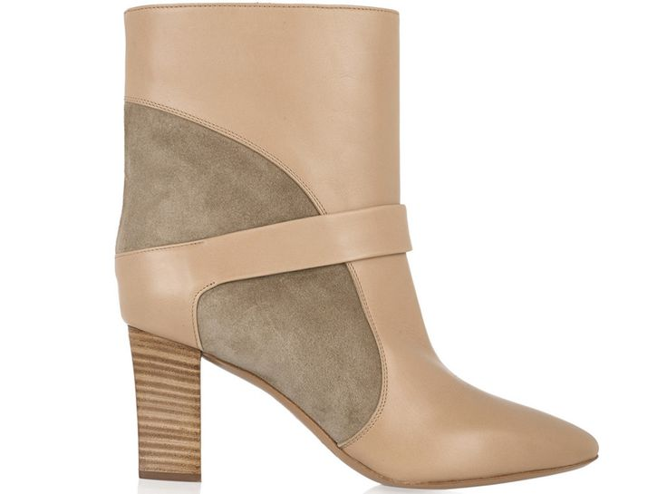 "Chloe suede-paneled leather ankle boots, $950 from Fall 2015's Most Coveted Bags & Boots  ""I always have a neutral boot in my closet. These have a '70s vibe and are great with jeans,"" says Ferlisi."