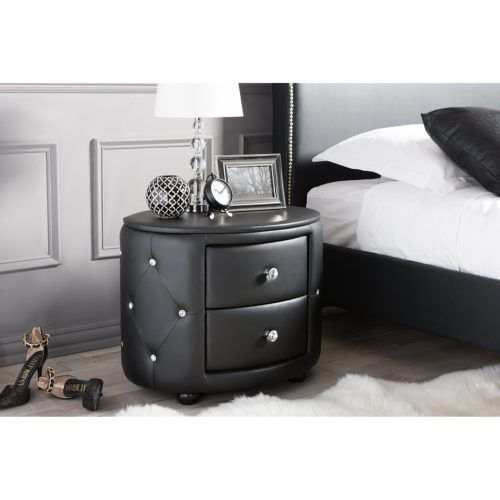 Davina Hollywood Modern Black Bedside Table Faux Leather Upholstered 2-Drawer, Medium Glamor Style, Baxton Studio