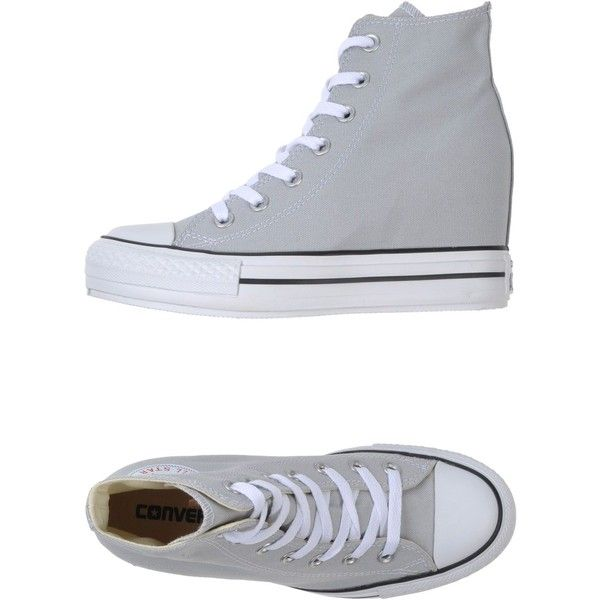 Converse All Star High-Tops & Trainers ($73) ❤ liked on Polyvore featuring shoes, sneakers, light grey, hidden wedge heel sneakers, high top hidden wedge sneakers, hidden wedge sneakers, round cap and high top shoes