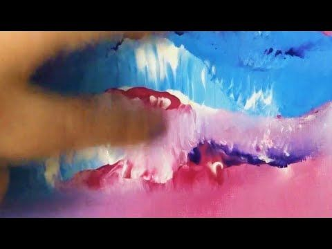 Easy Pink, Blue & Purple Abstract Painting for Beginners | Relaxing Music – YouTube
