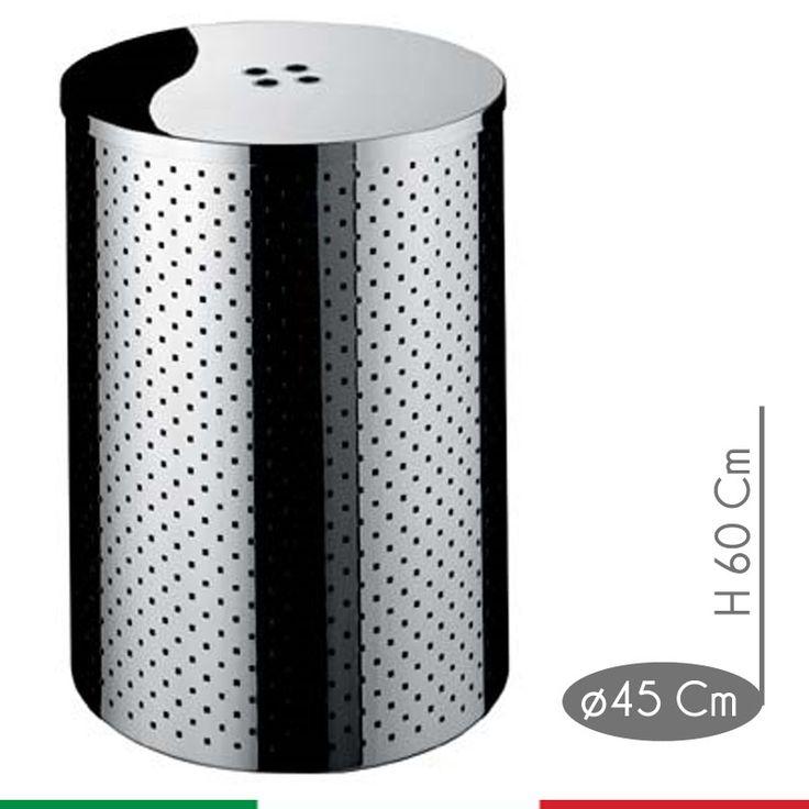 Portabiancheria Taormina Midi diametro 45xh60 cm - L 95 con coperchio in Acciaio Inox Aisi 430 | Graepel spa | Stilcasa.Net: ceste per la biancheria