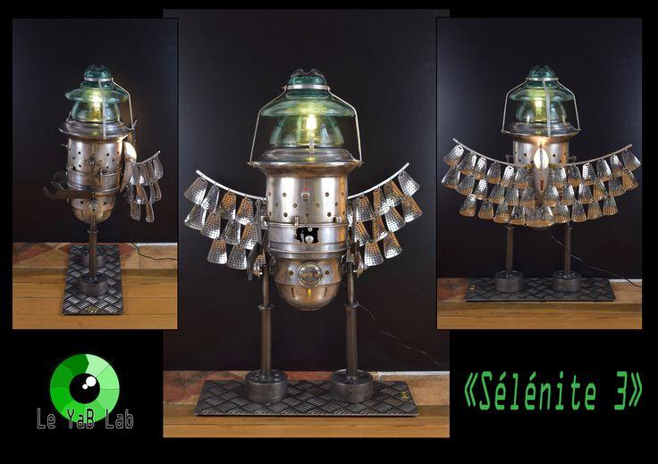 """Sculpture lumineuse """"Sélénite 3"""" Upcycling"""