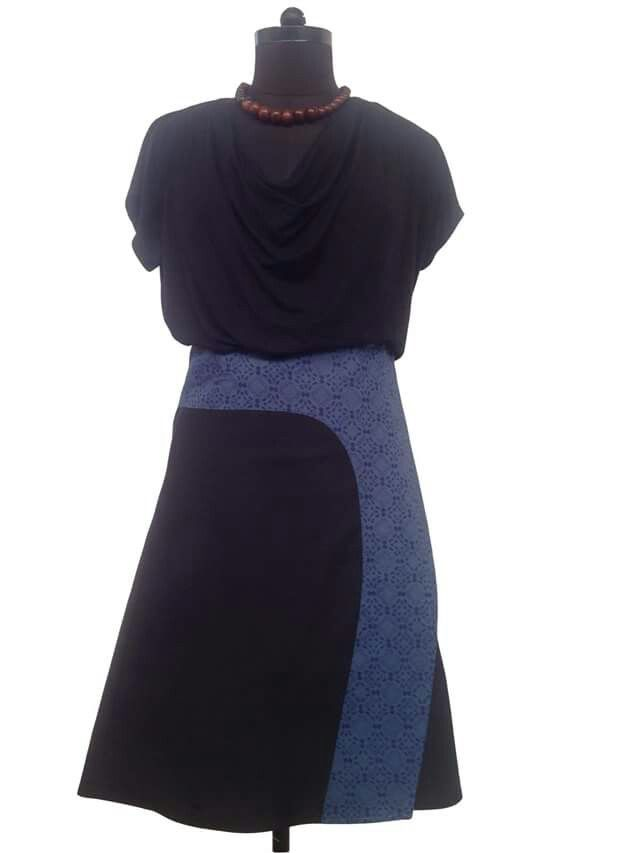 New Kiki wrap skirt in black and blue.