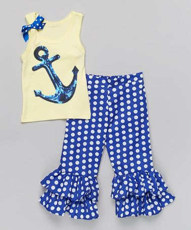 Loving this Royal Anchor Ruffle Tank & Pants - Infant, Toddler & Girls on #zulily! #zulilyfinds