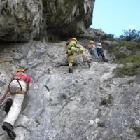 Felswand am Kala Jugendklettersteig