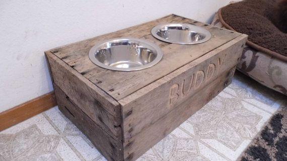 Dog food bowl stand reclaimed custom built dog food by BuddysBowls