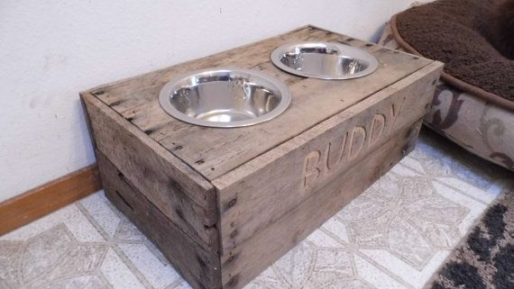Dog food bowl stand- reclaimed, custom built dog food stand, medium dog