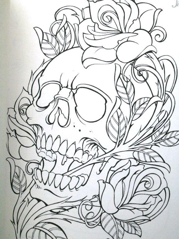 skull n roses Skull coloring pages, Skulls drawing, Drawings