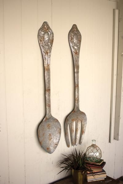 Set Of Two | Large Rustic Metal Fork And Spoon Wall Decor