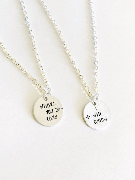 Gilmore Girls Best Friend Necklace Set. Where You Lead I Will Follow Necklaces. Mom and Daughter Set