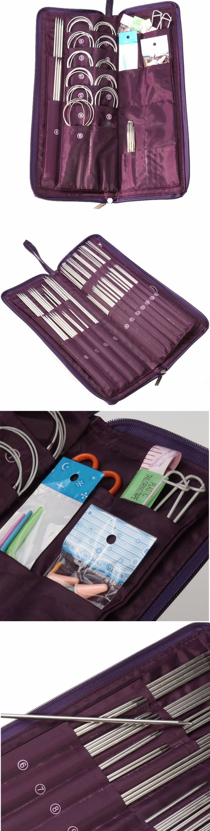 US$21.99     104pcs Steel Knitting Needles Circular Needles Crochet Hook Kit Set Sweater Hat Weave Stitches