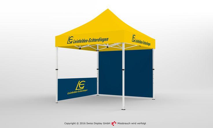 Faltpavillon 3x3. Die Stadt Leinfelden hat sich passend zu ihrem Stadtwappen ein Pavillon produzieren lassen. Auf diese Weise, kannst du dein Corporate Design auch auf dein Faltpavillon übertragen lassen.