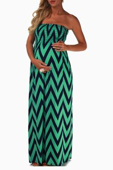 Maxi strapless maternity dress