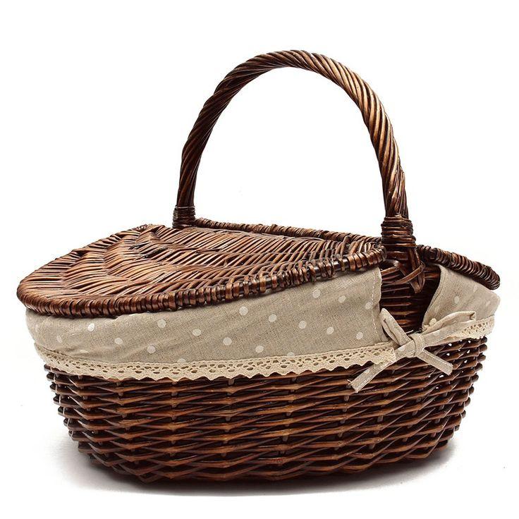 Высокое качество ивы плетеная Корзина для пикника ручной работы фрукты для хранения продуктов питания по магазинам корзина с крышкой и ручкой Декор плетеная ремесла