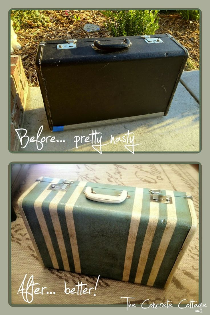 Painted Vintage Suitcase - Before & After