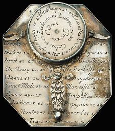 A fine late 18th-century silver Butterfield-pattern compass sundial,