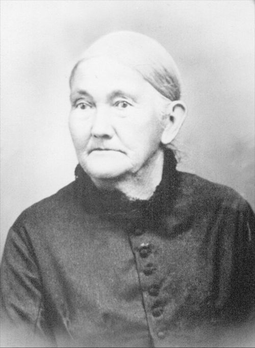 Annie Marshall Grinter portrait of a pioneer woman, 1820-1905, member of the Delaware tribe and wife of Moses R. Grinter. She came to Wyandotte County, Kansas Territory with her parents in 1832.