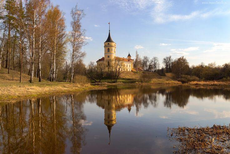Zamek, Drzewa, Brzozy, Rzeka, Odbicie