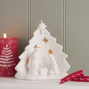 Ceramic Nativity Scene Tea Light Holder - nativity scenes & figures