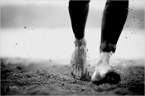 Barefoot running. I like this picture!