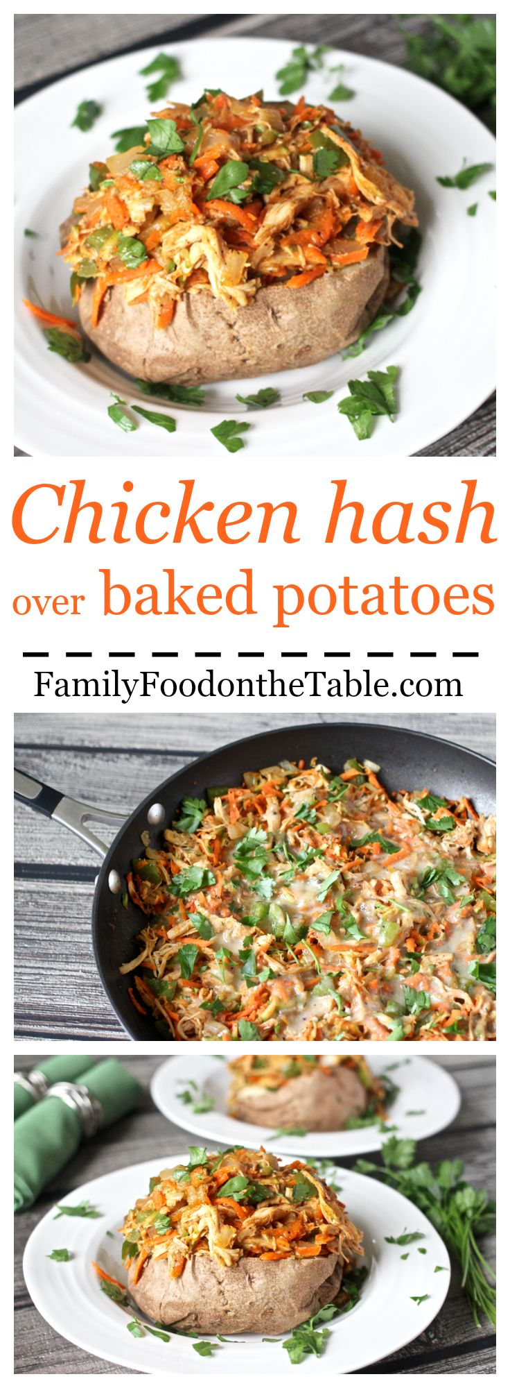 Chicken hash with a super easy gravy over fast baked potatoes - a delicious weeknight meal!