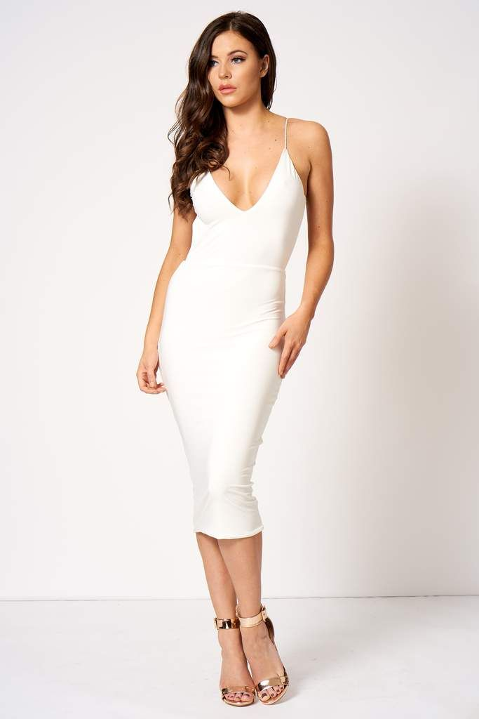 355749a15b02 White Slinky Bum Ruched Midi Dress | Ropa | White midi dress ...