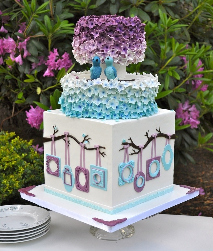 Just The Top Two Parts Purple And Turquoise Cake
